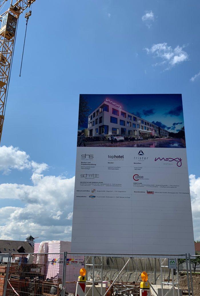 Baufortschritt des Moxy Hotel in Rust vom Juli 2019